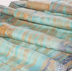 The Red Sari (Kathmandu) -Turquoise and Sand Sari Scarf- Felted Scarves made with vintage saris