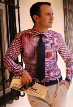 Image from http://blog.trashness.com/wp-content/uploads/2012/08/Blue-Red-Gingham-shirt-men-style-e1344503720751.jpg.