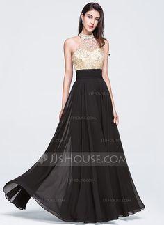 A-Line/Princess High Neck Floor-Length Chiffon Prom Dress With Beading Sequins (018070367) - JJsHouse