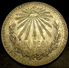 México 1940 SILVER DOLLAR peso de plata CORONA tamaño de la moneda