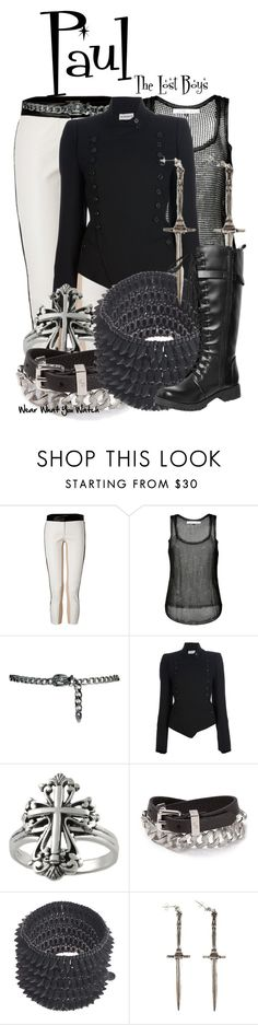 """The Lost Boys"" by wearwhatyouwatch ❤ liked on Polyvore featuring beauty, Roberto Cavalli, Anthony Vaccarello, MANGO, Ann Demeulemeester, Tressa, Marc by Marc Jacobs, Philippe Audibert, Pamela Love and Volatile"
