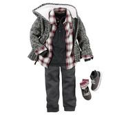 He's totally on trend with a layered button-front and henley. Plus, super soft fleece pants and a sherpa-lined hood keep him cozy all season!