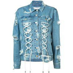 Public School lace-up detail denim jacket (11.348.825 IDR) ❤ liked on Polyvore featuring outerwear, jackets, blue, denim jacket, lace up jacket, blue jackets, blue jean jacket and blue denim jacket