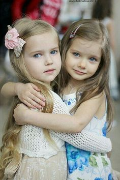 I'm not sure if the little girls are happy, but they do look like good friends. | #love #littlechildren #foreverlove