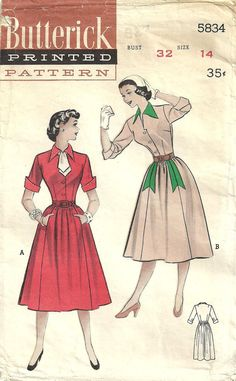 View A... cute!! | Vintage Fifties Sewing Pattern from Butterick 5834 Dress Size 14