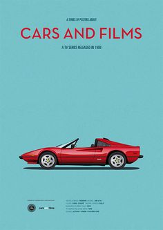 Poster of the car from Magnum Pi. Illustration Jesús Prudencio. Cars And Films #cars #carsandfilms #jesúsprudencio #magnumpi #ferrari #minimalposters #prints #illustration