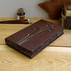 PurpleBrown Leather Journal with Painted Edges by TeoStudio