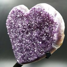 Fall in love with this stunning Amethyst crystal cluster from Uruguay. This giant heart shaped cluster will bring the symbol of love to your sacred space.  This large Amethyst heart cluster has purple chunky points with natural juicy grape purple color. Amethyst from Uruguay is the highest quality amethyst on the planet! You will appreciate the quality of this energetic decor piece.  This premium dark amethyst cluster would make a perfect addition to your crystal collection or as a beautiful…