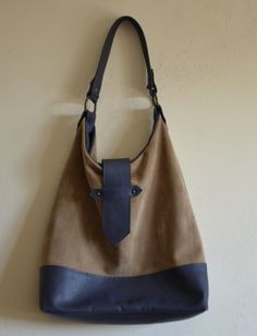 blue and beije leather good tote bag p/e 2014