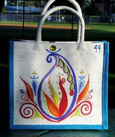 Beautiful Hand Painted Canvas Bag $22.00