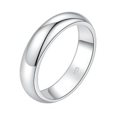 18K Gold Plated White Gold Finish Classic Band Ring Sz 5-9