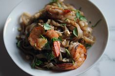 SHRIMP PAD THAI- Anyone could tell looking at my food board, that I now have a whole bag of shrimp in my freezer. All the ways I could use it!!!!