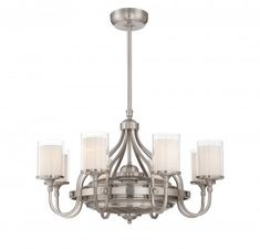 This eight light 'fandelier' from The Savoy House Etesian combines the beauty of a chandelier with the usefulness of a ceiling fan. With air ionizing and circulation this 'fandelier' is the perfect package. The satin nickel finish and dramatically curving arms, topped with glass shades that are white inside, create a contemporary appeal.
