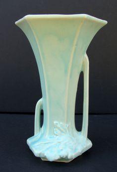 Vintage 1930's-40's McCoy Nelson RARE Different Sized Double Handled Aqua Vase | eBay