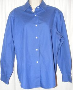 $15.99 Talbots Wrinkle Resistant Blue Solid Long Sleeve Career Shirt Top 10