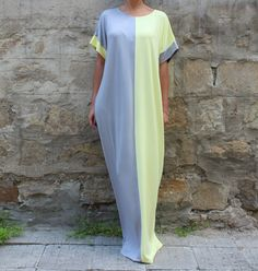 Kaftan/ Maxi dress/ Grey and Yellow Caftan/ par cherryblossomsdress