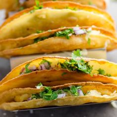 These flavorful crispy potato tacos are crunchy on the outside and creamy on the inside. Vegetarian and gluten-free.