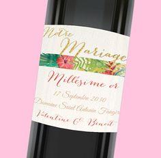 Etiquette de bouteille mariage pétillante et exotique pour une décoration de table qui fera voyager vos proches, réf.N300787