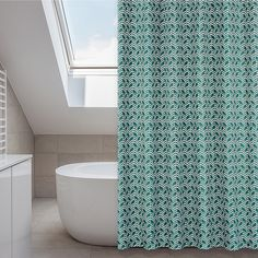 Add a wow factor to your bathroom decor with this Metro shower curtain set. This curtain features a bright emerald green chevron design on water repellent fabric and comes with twelve rings and a liner.