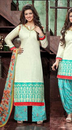 Awesome Off White Cotton Ayesha Takia Bollywood Salwar Kameez Blue Suits, Salwar Kameez, White Cotton, Off White, Bollywood, Cover Up, Sari, Awesome, Clothes