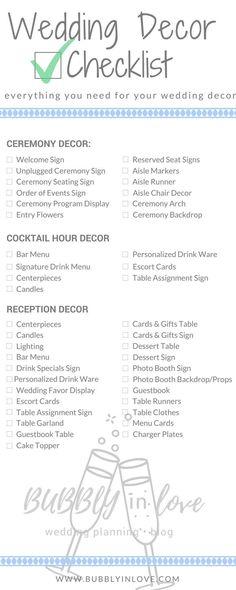 Wedding Decor Checklist | Wedding Decor | Ceremony Decor | Reception Decor | Cocktail Hour Decor | Wedding #Weddingschecklist