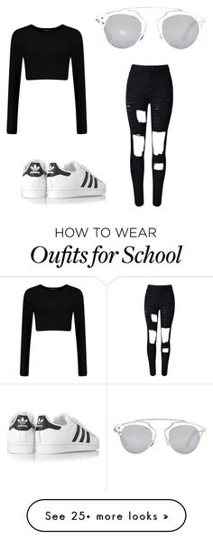 School Outfits by babiigyall on Polyvore featuring mode, adidas Originals, Christian Dior, womens clothing, women, female, woman, misses en juniors