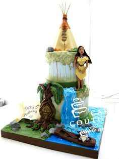 Pocahontas Theme: The Cake. Yes!!! Except the top layer should probably be the colors of the wind!? Or is it just me?