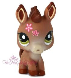 Littlest Pet Shop LPS #1944 BROWN BABY DONKEY PONY HORSE Pink Flower Green HTF
