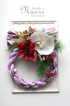Japanese New Year wreath 2015 Japanese New Year, Chinese New Year, Christmas Diy, Christmas Wreaths, Christmas Decorations, Mary Johnson, Modern Wreath, Arts And Crafts, Diy Crafts