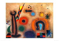 Libelle Mit Roten Flugeln Eine Schlange Jagend by Joan Miró