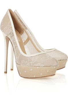 Valentino Lace and satin platform pumps