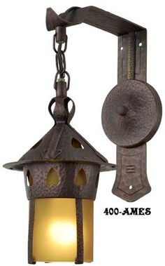 Arts & Crafts Stickley Copper Heart Sconce With Amber Shade (400-AMES)