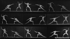 Eadweard Muybridge. Man in motion. Showed a man moving. Clear shots