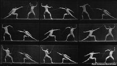 Eadweard Muybridge. Man in motion. Showed a man moving. Clear shots