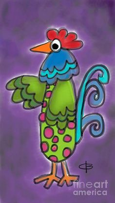 Green Rooster Pastel  - Green Rooster Fine Art Print
