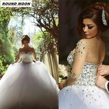 ROUND MOON 2017 Long Sleeve A Line Crystal Beading Tulle Wedding Dresses Full Sleeve Bridal Dress Vestidos De Noiva(China (Mainland))