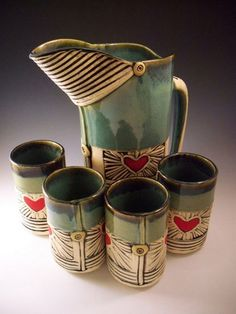 Alissa Clark - Mom, we just bought her work at this years annual OPA showcase Mom bought one of these heart mugs and I got my second owl mug from her Love Alissas work! click the image or link for more info. Pottery Teapots, Ceramic Teapots, Pottery Mugs, Ceramic Clay, Ceramic Pitcher, Thrown Pottery, Slab Pottery, Ceramic Pottery, Pottery Wheel