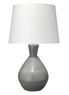 "Ash Table Lamp. Finish as shown: grey  Other avail. finishes:navy  Base Height: 18""h Base Footprint: 6.5""dia. 3-way socket / clear cord / max. 150 watts  Handmade, size and finish will vary (JY)"