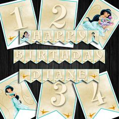 Printable Princess Jasmine Birthday Banner Aladdin And Jasmine, Princess Jasmine, Bunting Banner, Banners, Vibrant Colors, Create Your Own, My Design, Crafts For Kids, Printables