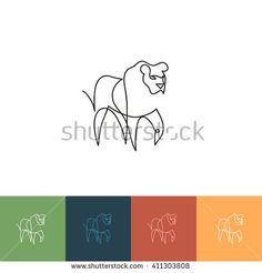One line lion design silhouette. Hand drawn minimalism style vector illustration