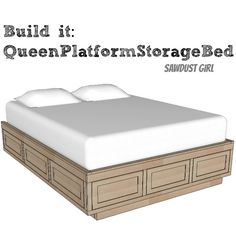 Ideas for DIY King bed with storage. Build this Queen sized platform bed frame with storage drawers. Pair it with your favorite headboard for an attractive AND functional storage piece. Platform Bed Plans, Queen Size Platform Bed, Platform Bed With Storage, Bed Frame With Storage, Diy Bed Frame, Platform Bed Frame, Bed Storage, Bedroom Storage, Storage Drawers