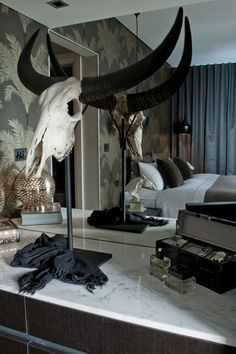 """""""Bold Masculine Horns Potts Point Penthouse"""" pretty weird but i kind of love it African Interior Design, Australian Interior Design, Interior Design Inspiration, Design Ideas, Dream Bedroom, Home Bedroom, Bedrooms, Darren Palmer Interiors, Beautiful Bathrooms"""
