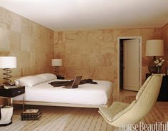 I love this birch plywood wall, from Apartment Therapy
