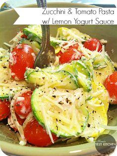Mom's Test Kitchen: Zucchini & Tomato Pasta with Lemon Yogurt Sauce