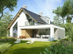 House design with an attic Aristotle with an area – dream house Modern Bungalow House, Modern House Plans, Small House Design, Modern House Design, Metal Barn Homes, House Extension Design, Home Building Design, Steel Buildings, Facade House
