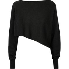 Crea Concept Womens Jumpers Crea Concept Black Cropped Asymmetric... found on Polyvore featuring tops, sweaters, crop tops, cropped jumper, crop top, asymmetrical top, asymmetrical sweater and asymmetric crop top