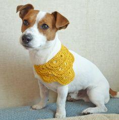 CROCHET DOG CLOTHING | Yellow Crochet Dog Bandana / Dog clothes / dog costume / Dog fashion...