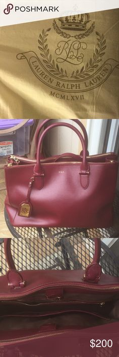 490bc3d90c93 A beautiful Lauren Ralph Lauren Burgundy red color with two zip side and  one large middle