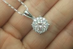 Brilliant Moissanite Pendant White gold,Diamond Pendant,14K,Round Cut,Gemstone Pendant for necklace,Halo,Fashion,Can be a set with ring by popRing
