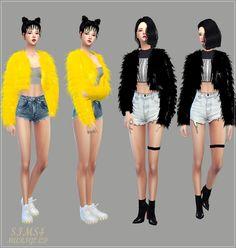 SIMS4 marigold: ACC_fur jacket_ fur jacket clothes _ women Accessories